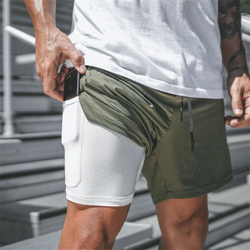 Fashion Boardshorts Plus Size 3Xl New 2 In 1 Gyms Shorts Men Summer Casual Beach Shorts Homme Security Pocket Elastic Waist
