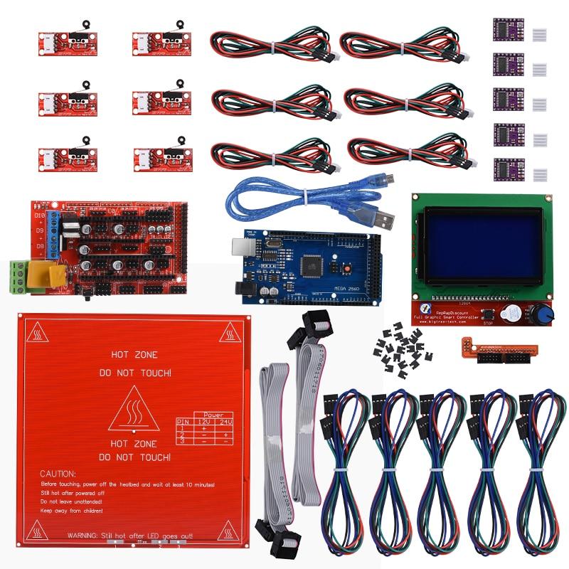 Reprap Ramps 1.4 + Mega 2560 R3+Heatbed MK2B +12864 LCD Controller+ DRV8825+Mechanical Endstop For 3D Printer diy kit Heated Bed