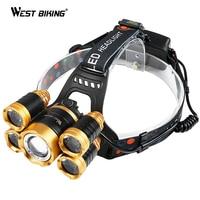 WEST BIKING 600LM Bike Light USB Rechargeable Waterproof 5 Leds Headlight 18650 Battery X 2 Cycling Flashlight Bicycle Light