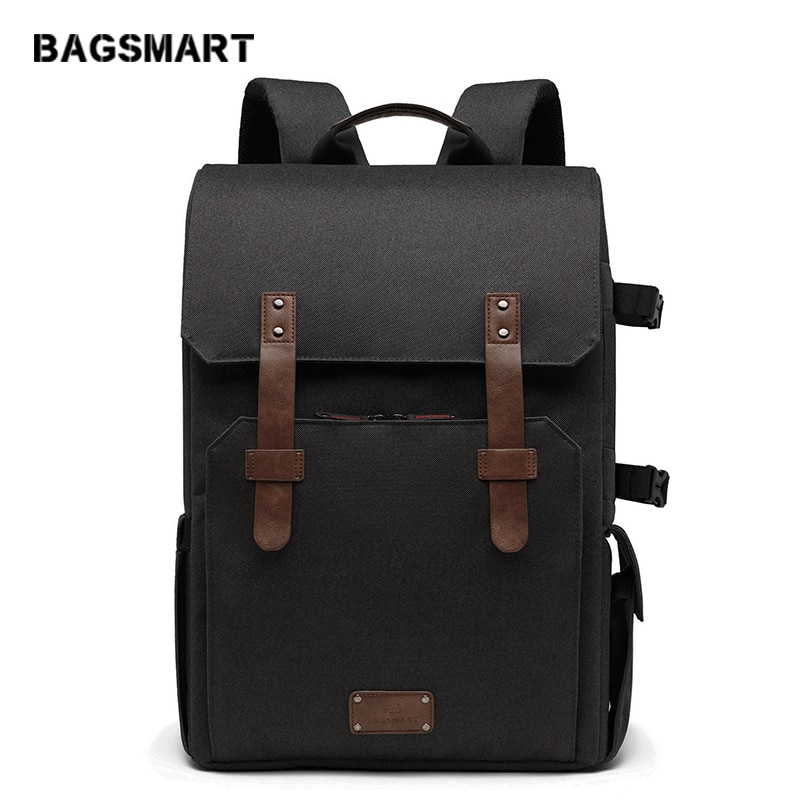 BAGSMART Multifunctional Camera Backpack for SLR/DSLR Cameras 15.6 Laptop Bag with Waterproof Rain cover Tripod Mount