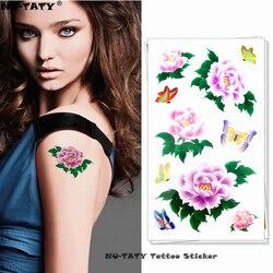 Nu-taty rosa crisântemo tatuagem temporária corpo arte braço flash tatuagem adesivos 17*10cm à prova dwaterproof água falsa henna indolor tatuagem