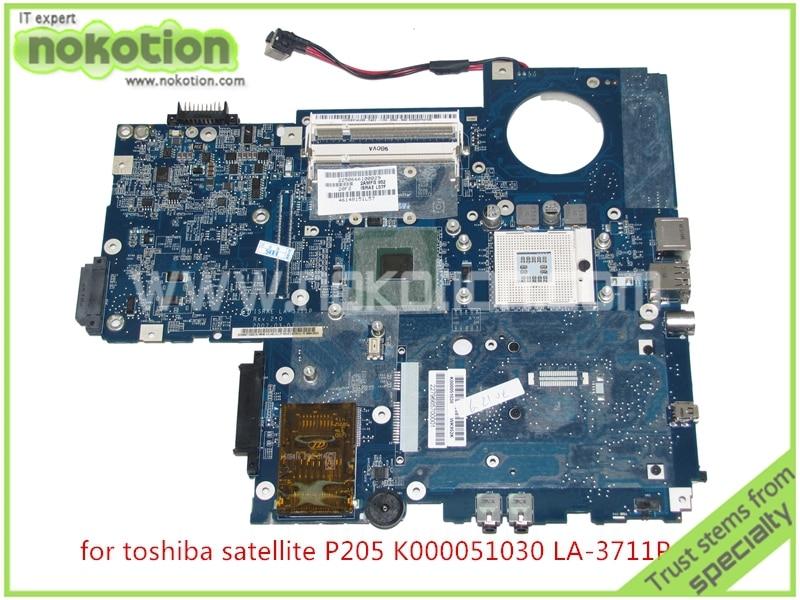NOKOTION ISRAE LA-3711P REV 2,0 para toshiba satélite P200 P205 placa base K000051030 intel 943GML ddr2