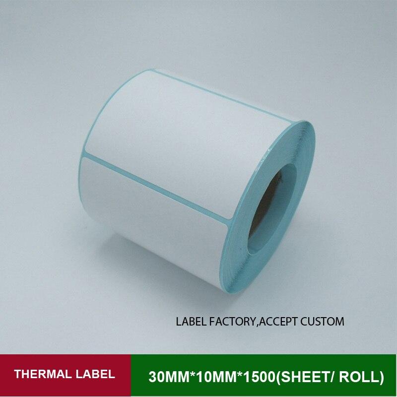 Impresora de etiqueta etiqueta de papel 1500 hojas de etiquetas 30*10mm por fila de código de barras térmica adhesiva del rollo balanza electrónica con la etiqueta engomada