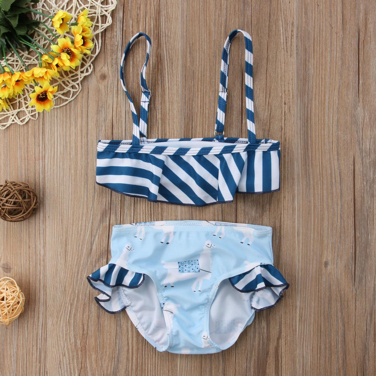 Emmababy Nieuwe Merk Kid Baby Meisjes Alpaca Gestreepte Bikini Set Badpak Badmode Zwemmen Badpak