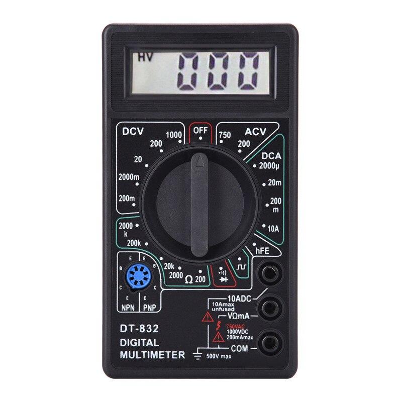 Black DT832 Digital Multimeter Tester LCD Mini Multimeter AC DC Voltmeter Ammeter Ohm Meter Auto Polarity Display