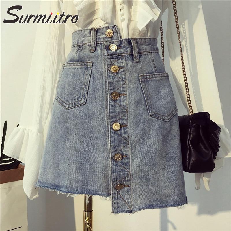 Surmiitro de talla grande 5XL verano Falda vaquera Mujer moda 2019 Botón de bolsillo cintura alta Big Sun escuela Mini falda Jeans Mujer