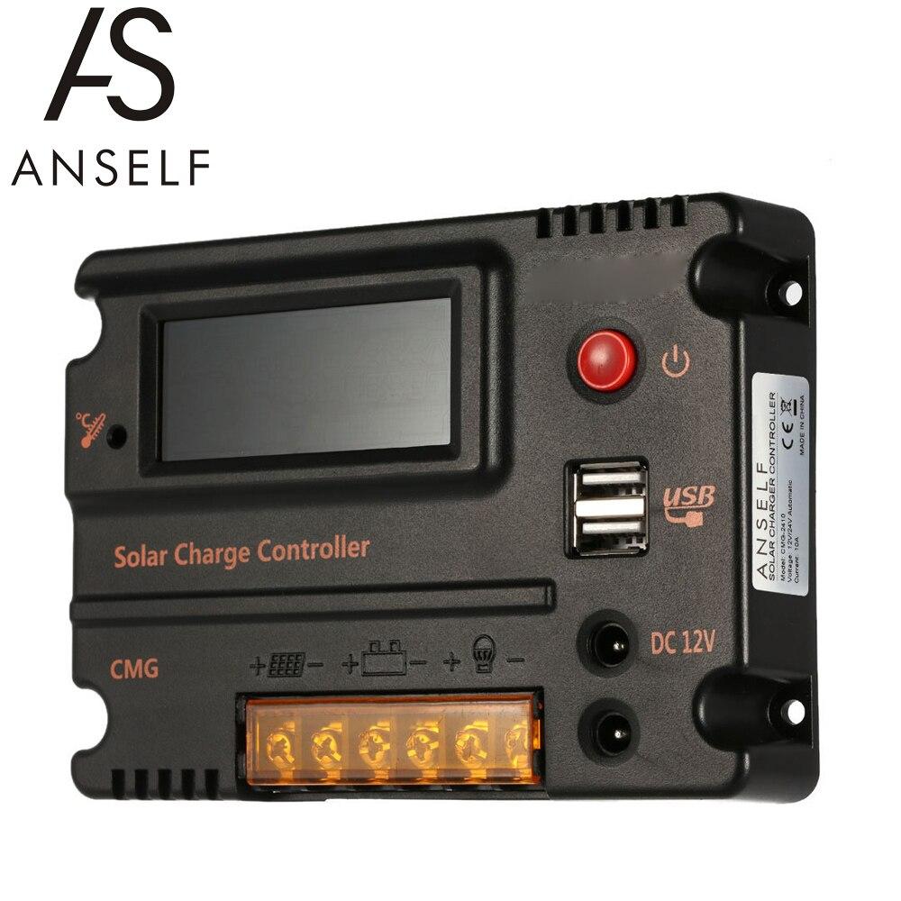 Anself 20A CMG-2420 LCD الشمسية جهاز التحكم في الشحن منظم بطارية اللوحة السيارات التبديل الزائد حماية درجة الحرارة التعويض