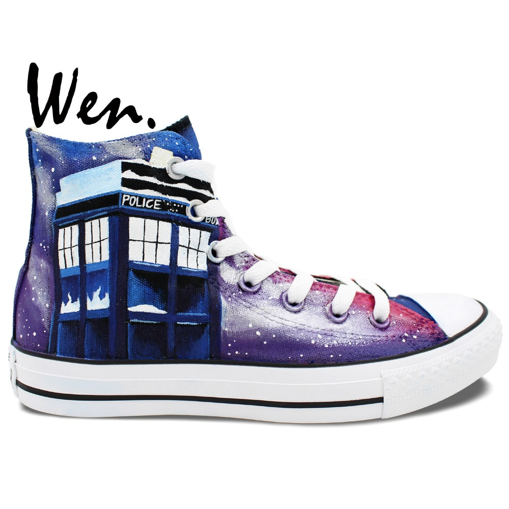 Wen Hand Painted Shoes Design Custom Sneakers Dalek Weeping Angel Large Tardis Doctor Who Men Women's High Top Canvas Sneakers