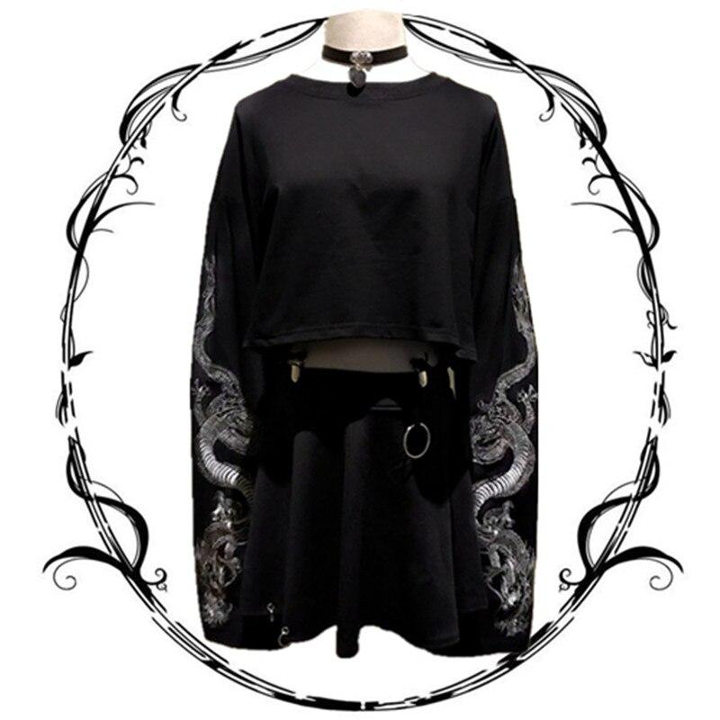 Harajuku japonés moda mujer negro sudaderas dragón bordado Crop tapas Casual Streetwear Sudadera corta con clip de correa