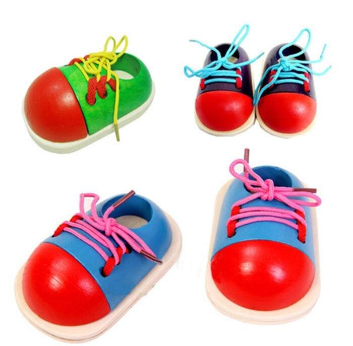 1 unidad, Educación educativa, moda para niños, zapatos de cordones Montessori, juguetes de madera para niños, juguetes para niños, triangulación de envío