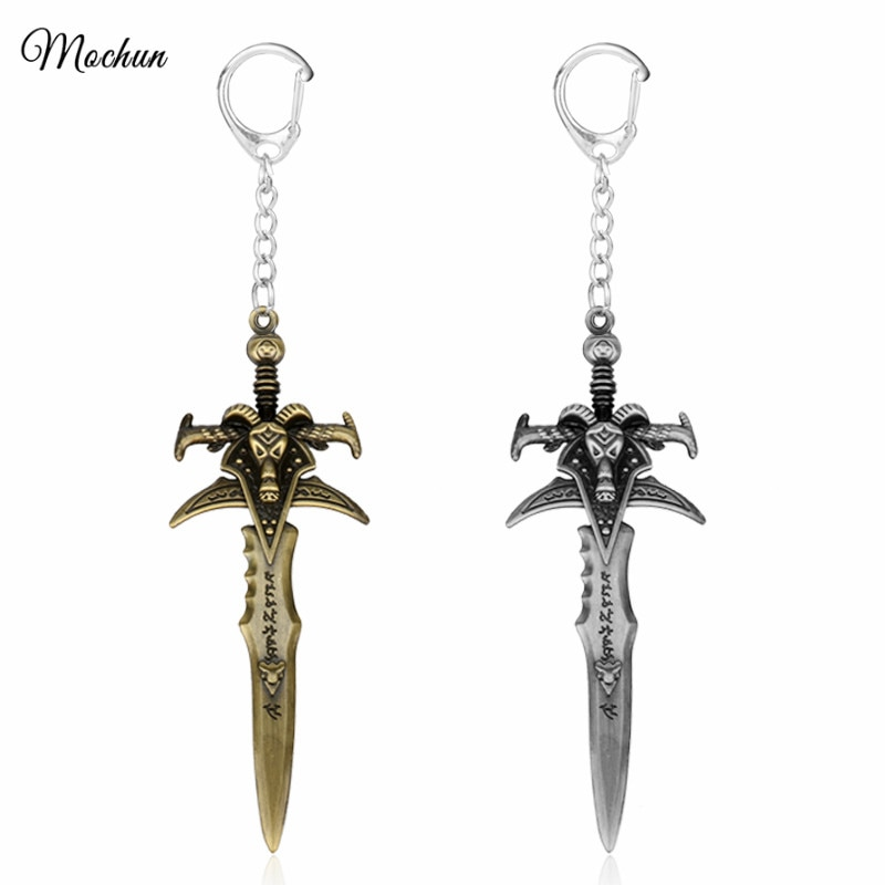 MQCHUN 2017 Hot Game World of War Craft WOW el rey exágono Frostmourne espada daga Metal figuras juguete llavero