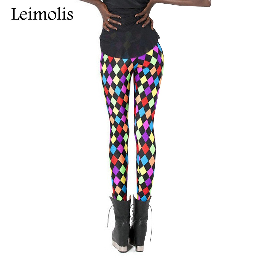 Leimolis 3D impreso fitness leggings de entrenar con aumento mujeres coloridas Diamante de talla grande de alta cintura punk rock Pantalones