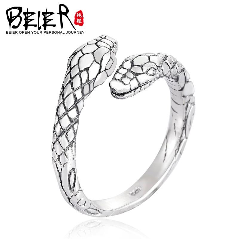 Beier 100% 925 silber sterling ring einfache snake ring für frauen/männer high polish Fashion Schmuck BR-SR012