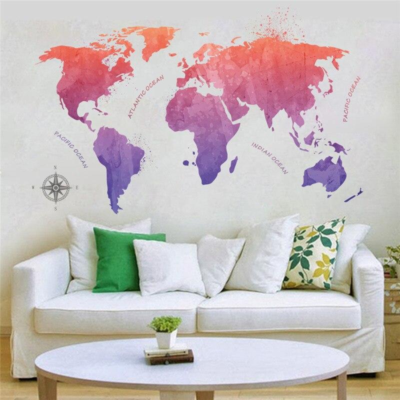 Bunte Welt Karte Wand Aufkleber Für Shop Büro Wohnzimmer Dekoration Globalen Karten Wandbild Kunst Diy Pvc Wand Abziehbilder poster