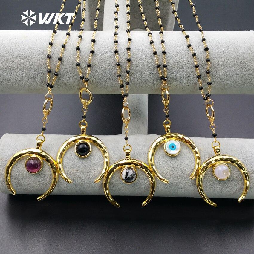 WT-N961 hurtownie kamień naturalny biżuteria odporne na tarcie złoty kolor Ox horn wisiorek z czarny koralik naszyjnik dla kobiet