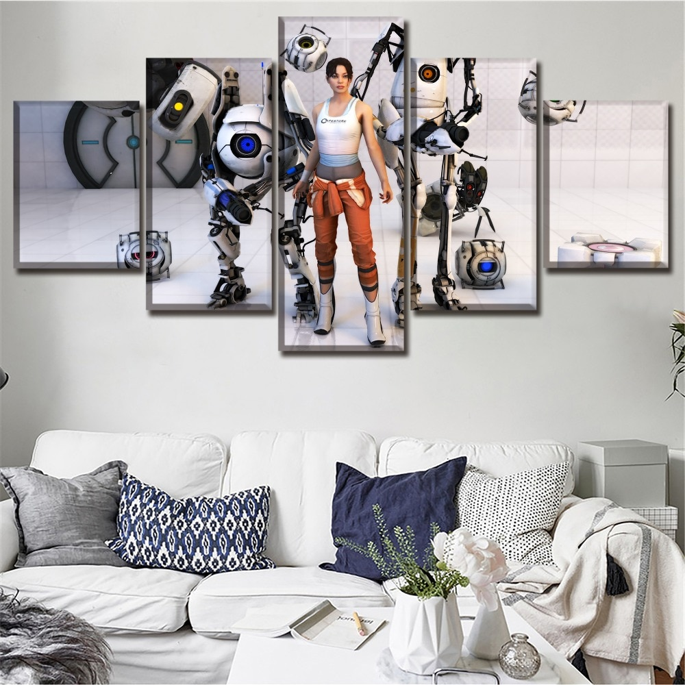 Póster de 5 piezas de lienzo mejor valorado Chell Portal de juegos Wheatley cuadros modulares arte de pared pintura decorativa para el hogar para dormitorio