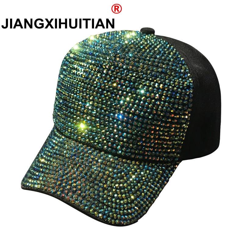 2018 Rhinestones luxury pearl Sequins Baseball Cap For Women Summer Cotton Hat Girls Snapback Hip hop hat Gorras Casquette Bones