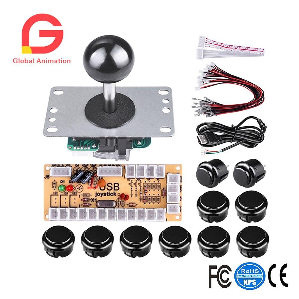 DIY juego de Arcade botón y Joystick Kit de controlador para Rapsberry Pi y Windows 5, Pin Joystick y 10 pulsadores