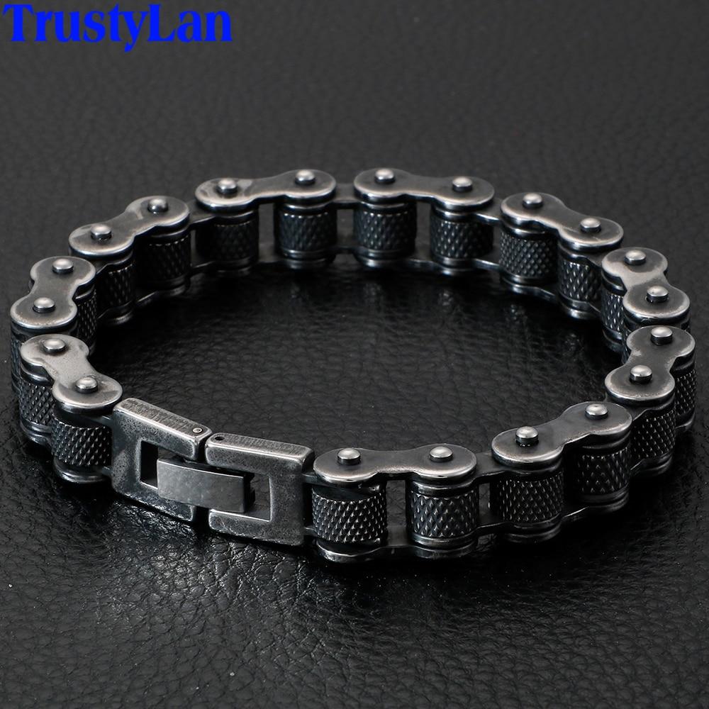 Retro Stainless Steel Motorcycle Chain Iron Men Bracelet Male 13MM Wide Men's Bracelets On Hand Hip-Hop Jewelry Mannen Armband