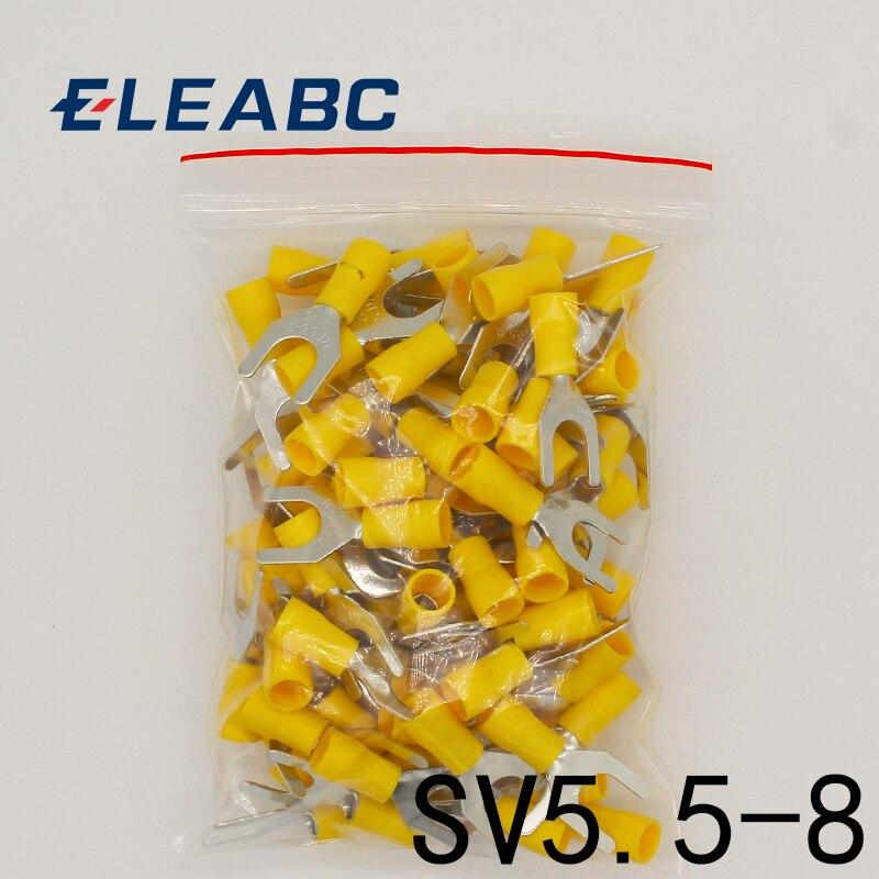 SV5.5-8 amarillo Terminal de Cable de conector de Cable 50 piezas aislado tenedor Spade crimpado terminales de conector de cableado eléctrico SV5-8 SV