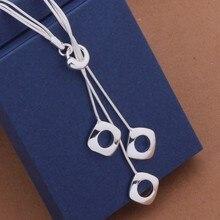 Mode Elegante Dames Ketting 925 Hollow Square Hanger Lange Ketting Mulit Ketting-Plated Sieraden Loving Gift AN441-1