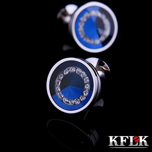 KFLK 2020 de lujo caliente camisa de para regalos de los hombres de la marca botones brazalete de cristal enlace de alta calidad azul abotoaduras joyería