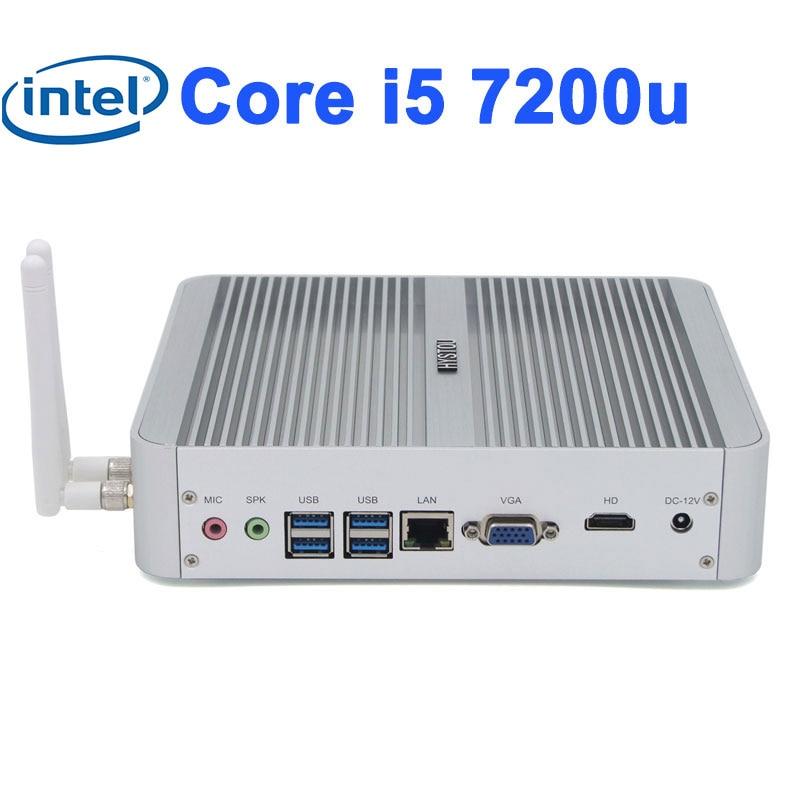 Sin ventilador Barebone i5 7200u i3 7100u Win10, 3 años de garantía, Mini HDMI computadora 4K HTPC TV Box Gráficos HD Intel 620 pc sin ventilador