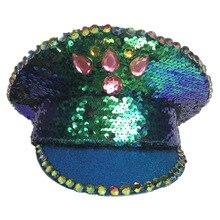 Gorra de actuación británica azul-verde brillante lentejuelas gorra militar etapa espectáculo de danza sombrero Cosplay fiesta gorra con lentejuelas parche hombres mujeres