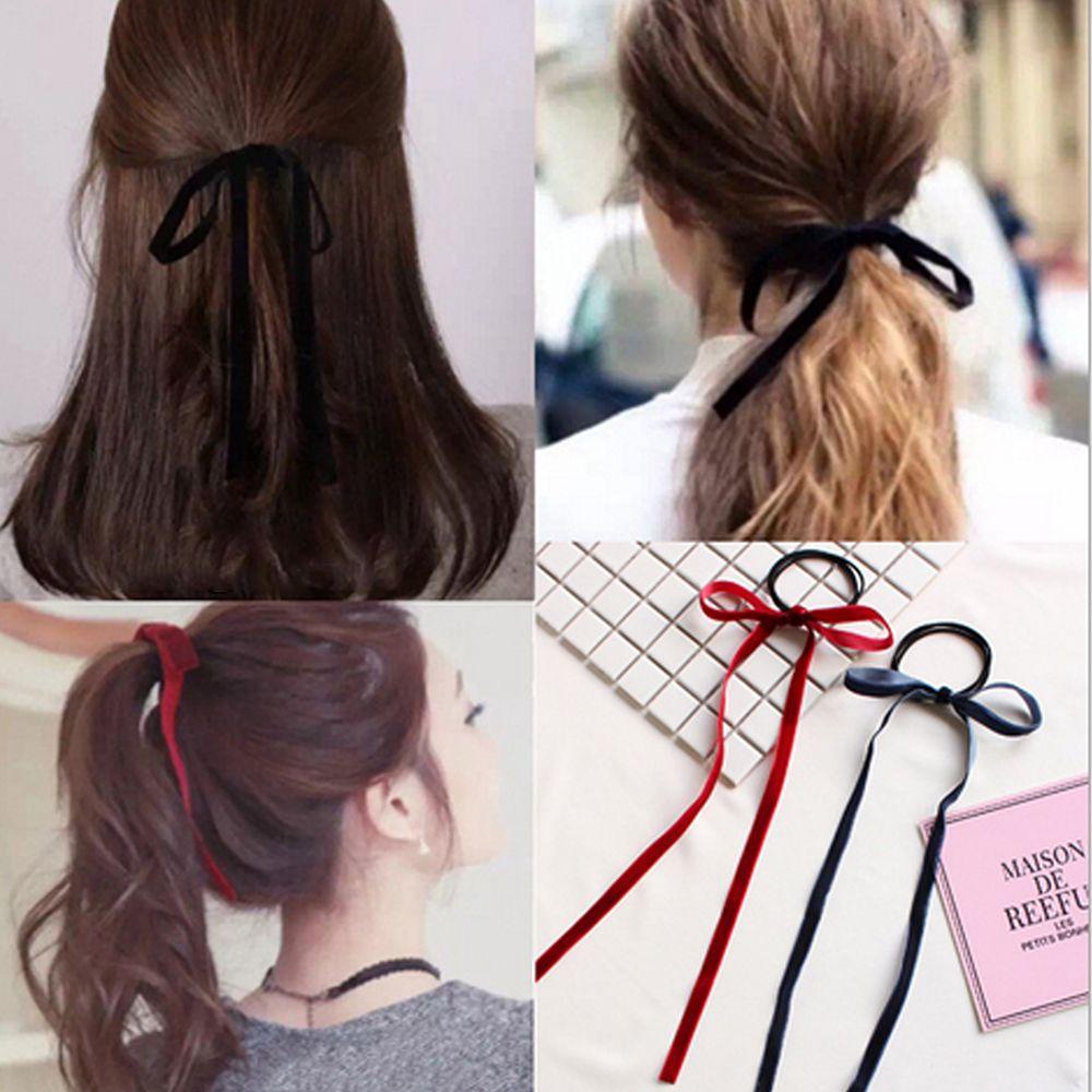 1PC Simple Velvet Ribbon Bow Elastic Hair Band Girls' Long Tassel Hair Ties Bands Women Hair Braiders Accessories Styling Tools