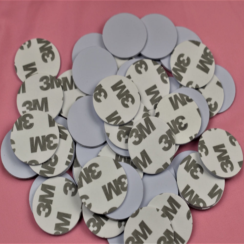50pcs 13.56MHZ NFC Tags MF 1K S50 F08 ISO14443A Smart NFC Coin Card Dia 25mm With 3M Adhesive Glue Sticker