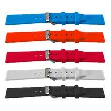 Bracelet de montre multicolore en caoutchouc Silicone bracelet de montre avec boucle en acier inoxydable 16/18/20/22/24/26/28mm