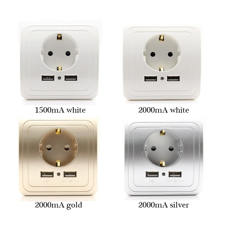 UE estándar 16A 250V Puerto USB Dual 1500mA/2000mA adaptador/cargador de pared EU enchufe Usb con panel de toma de corriente Usb