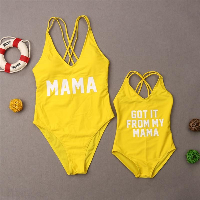Bañador de verano para Familia, bañador con las letras Baby estampado de una pieza para mujeres y niñas, traje de baño Monokini, traje de baño