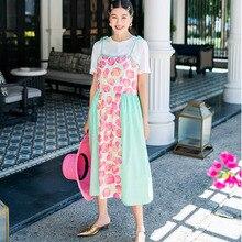 LANMREM 2020, novedad de verano, alta calidad, costura de gasa con estampado sin mangas, vestido de mujer con paneles, vestidos sueltos QJ6970