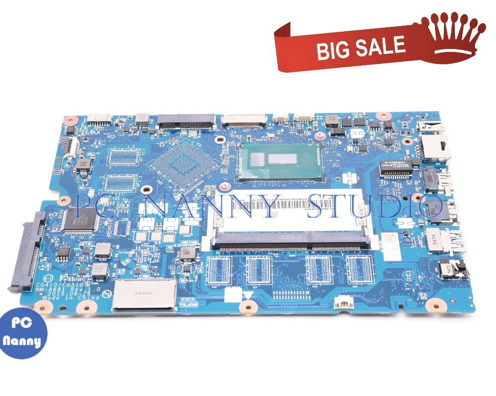 PCNANNY 5B20K40900 para lenovo Ideapad 100-15IBD placa base de computadora portátil NM-A681 w/i3-5020U 2,2 GHz CPU prueba