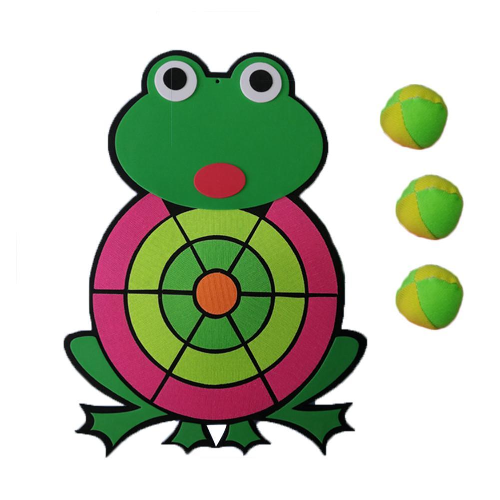 Kids Dart Board Game 1 Fabric DartBoard & 3 Balls Soft Darts Frog Shape Dart Board Childhood Classic Game Ideal Gift For Kids