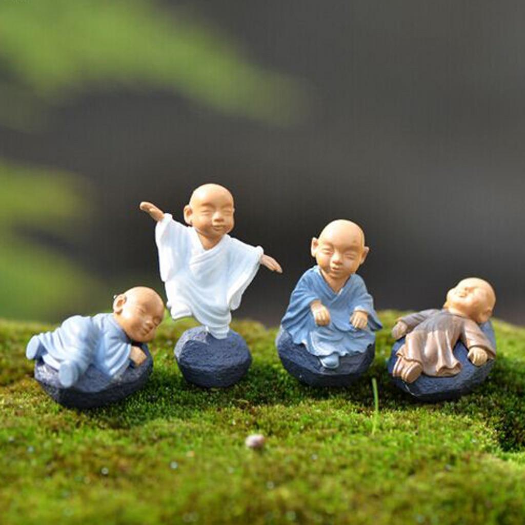 Paquete de 12 Mini estatuas de bonsái de meditación con paisaje de monje, decoración para casa de muñecas, estatuas de jardín