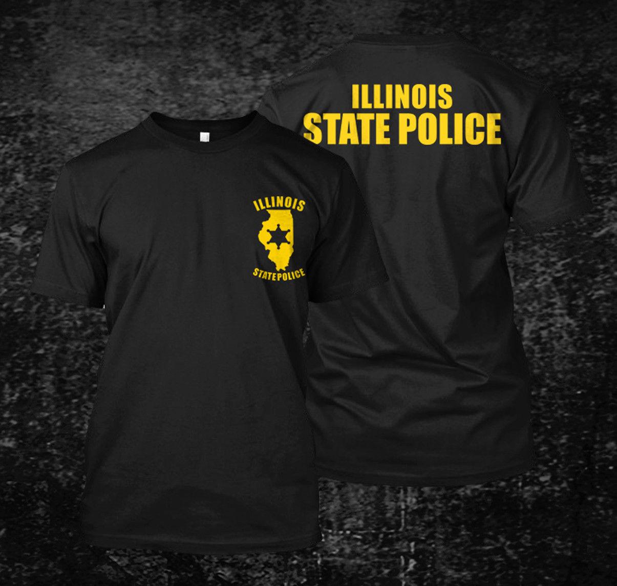 Camisetas holgadas negras para hombre, camisetas para hombre, camisetas de la Policía Estatal de Illinois USA, camiseta personalizada para hombre, camiseta estampada para hombre