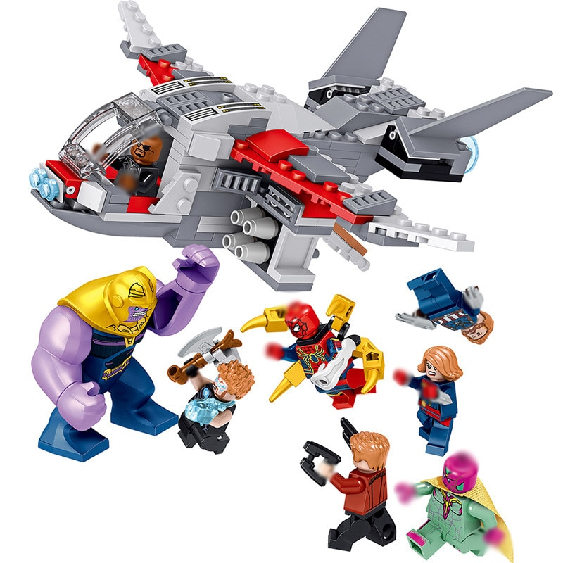 Legoing capitán Los vengadores de Marvel juego final Thanos Spiderman Antman Thor Iron Man máquina de guerra bloques de construcción ladrillos juguetes Legoing