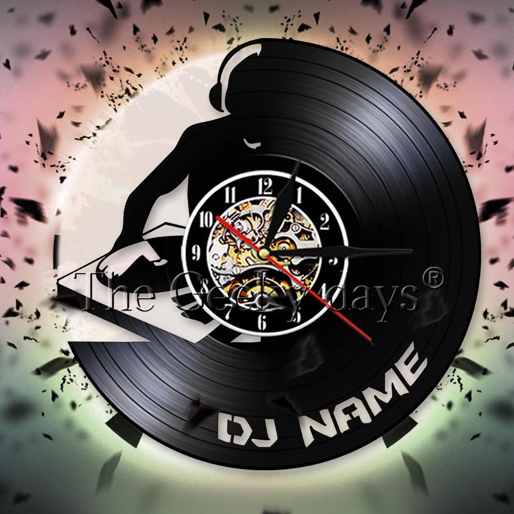 Reloj de pared decorativo con nombre personalizado DJ, reloj de silueta para la pared, reloj Retro de vinilo con música, reloj de pared, decoración de pared para Pub Bar