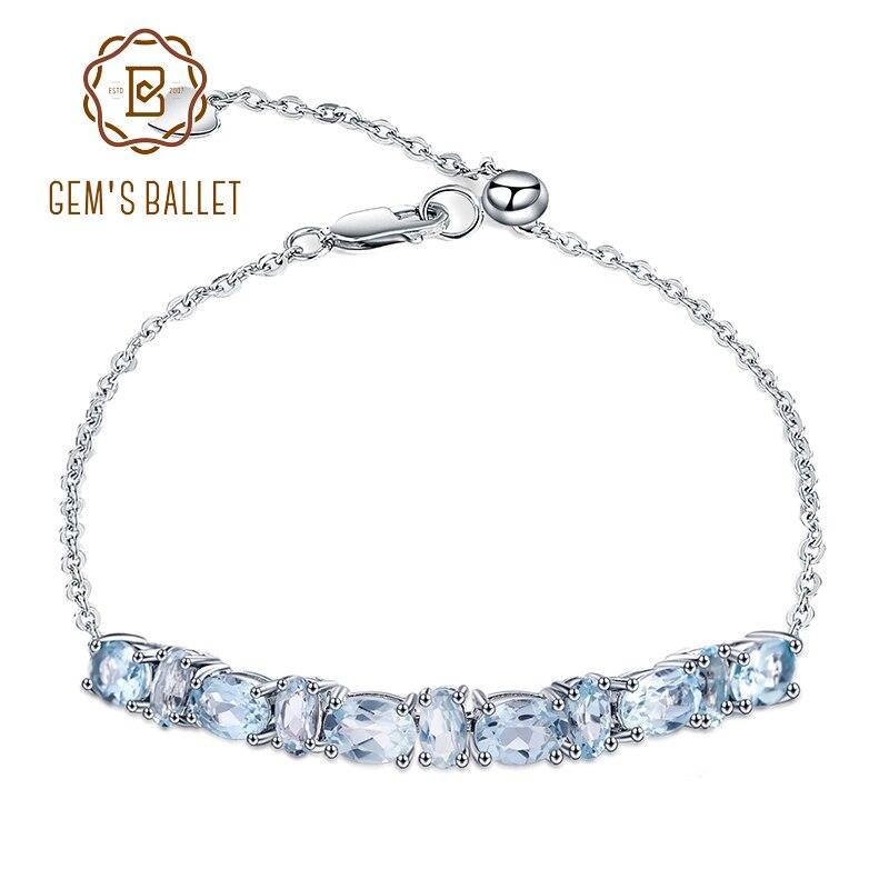 GEMS BALLET 5.07Ct, pulseras y brazaletes de Topacio azul cielo Natural, pulsera ajustable de Plata de Ley 925 para boda de mujer