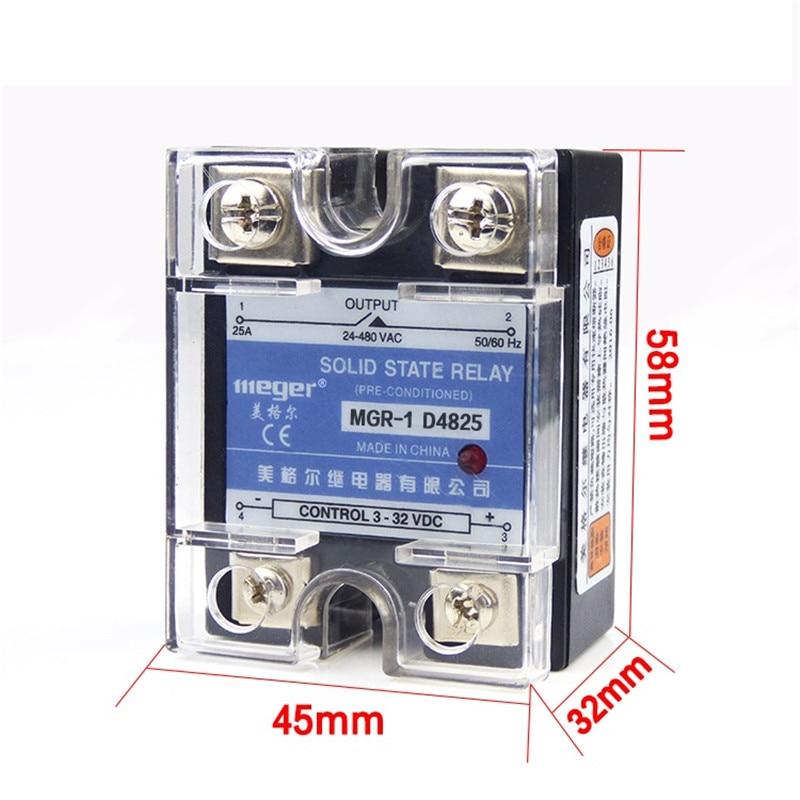 25A Monofásica SSR Relé de Estado Sólido Controle DC AC MGR-1 D4825 24 Carga de tensão-480 v