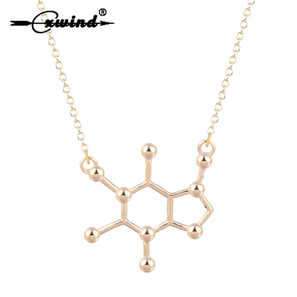 Cxwind Charm collar de molécula de cafeína estructura química para Mujeres Hombres collares colgante pequeño collar de cadena larga joyería