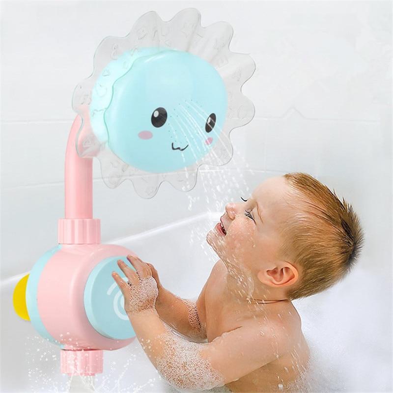 Sunflower Baby Bad Spielzeug Badewanne Duschen Baden Tüllen Suckers Folding Spray Wasserhahn Spielen Bad Wasser Spielzeug