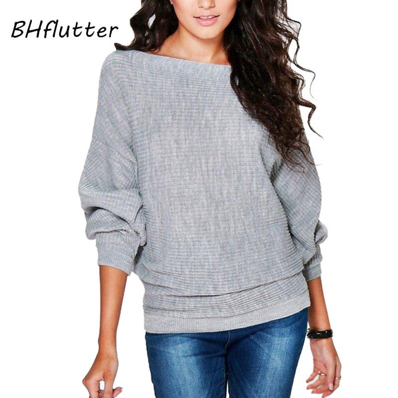 BHflutter suéter y pulóver para mujer 2018, suéteres de punto finos de manga de murciélago a la moda, Tops de punto casuales para primavera y otoño para mujer