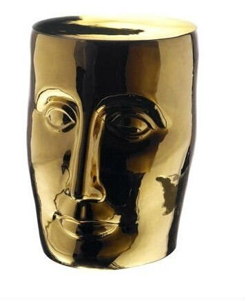Heces para jardín de porcelana de cerámica glaseado dorado