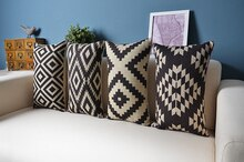 Nordic forest geometric lumbar pillow Linen pillow cushion   Pillow  Home Decor sofa cushions