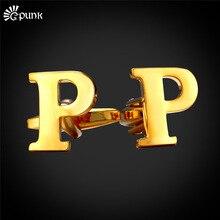 Boutons de manchette homme monogramme lettre initiale Alphabet P bouton de manchette or/couleur gros cadeau de fiançailles pour MaleC2046G