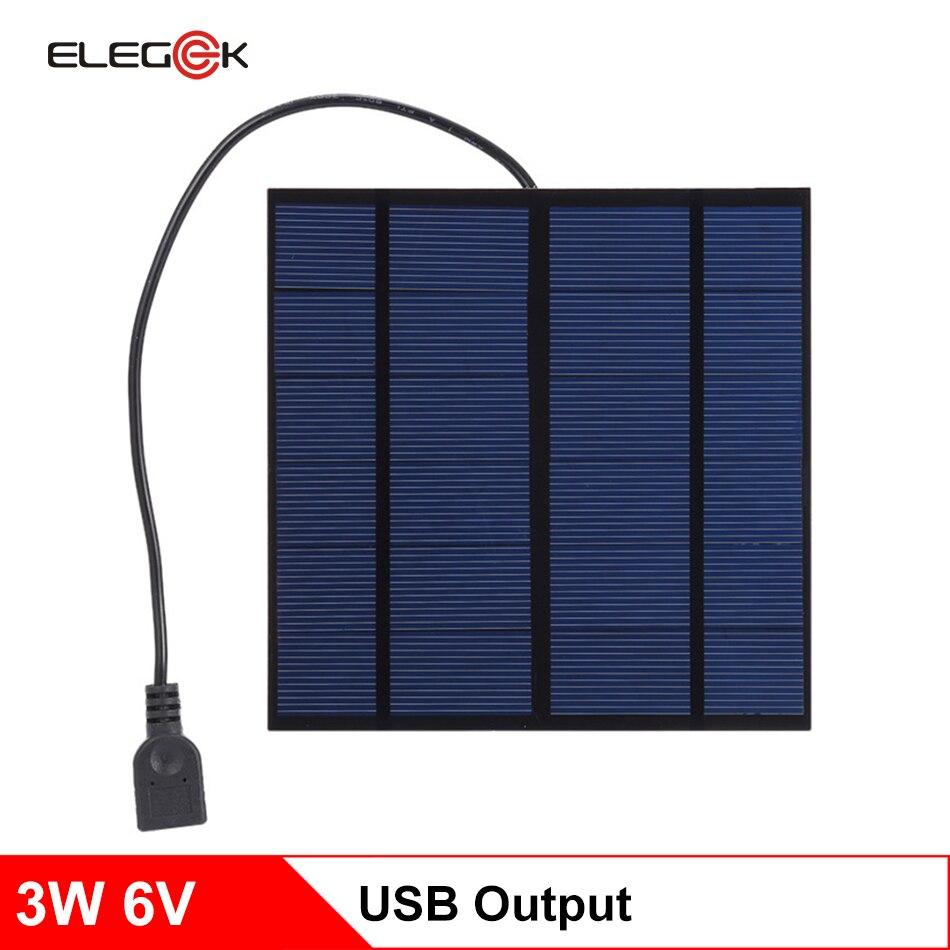 ELEGEEK 3W 6V USB salida del cargador del Panel Solar monocristalino de PET Mini paneles de células solares de DIY Solar cargador de teléfono 145*145*3mm