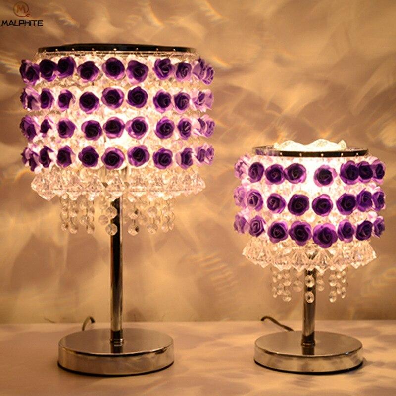 Modern hanging Crystal table lamp purple rose adjustable wedding lamps table for bedroom wedding deco lighting Luminaria